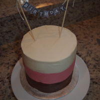 Neopolitan Cake Chocolate, strawberry and vanilla cake layers, with matching buttercream