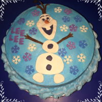 Olaf Birthday WASC cake with buttercream and Magic Chocolate decorations