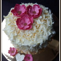 Pink Flowers Decorated with white cholate and fondant flowers