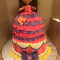 Princess Dora A Princess Dora ruffle cake dress for a little girls 1st birthday.