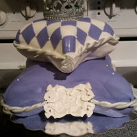 Princess Pillow Cake gum paste tiara with fondant pillows