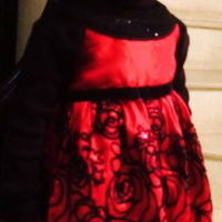 Red And Black Cake matches the birthday girls dress