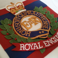 Royal Engineers Themed Fruit Cake Dense booze fruit cake covered in marzipan and the royal engineers emblem. All elements hand made.