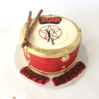 "Rush Drum Cake Rock Band ""Rush"" themed buttercream iced cake with fondant details."