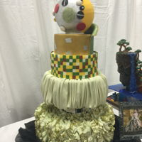 San Diego Cake Show 2016 I designed this cake after a Gustav Klimt painting...It wasn't exactly what I wanted but I had 4 days to do it.