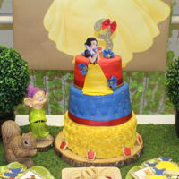 Snow White Birthday 3 Tier Snow white birthday cake, with yellow roses, blue pillow, and red top tier.