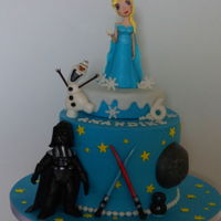 Star Wars & Frozen Cake star wars & frozen cake