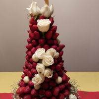 Strawberry Tower Decorated with strawberry, white chocolate and fresh roses