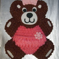 Teddy Bear Cake 1st Birthday Cake. Chocolate cake with chocolate and vanilla buttercream, and fondant accents