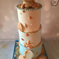 The Beach..   Beach cake with sugar seashells. I have a tutorial on my website if any one is interested. www.sweetcakefetish.com ! :)