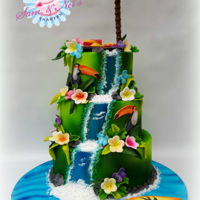 Tropical Cake A Tropical themed cake, loved making this cake