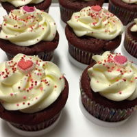 Valentines Day Cupcakes Red velvet chocolate ship cupcakes with cream cheese frosting.