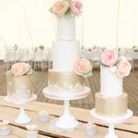 Vintage Wedding Cake Trio Pretty summer wedding cake table with cupcakes and cakepops. LOved make these cakes