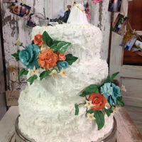 Wedding Cake Buttercream with fondant/gum paste flowers.