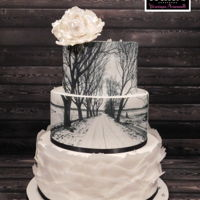 Winter Wedding Cake Black and white wedding cake