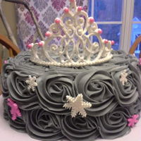 Winter Wonderland Princess Cake 1st birthday Winter Wonderland Princess theme. 10 inch round, grey buttercream rosettes, fondant snowflakes. Hand piped royal icing crown...