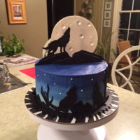 Wolf Cake Buttercream with fondant cut outs