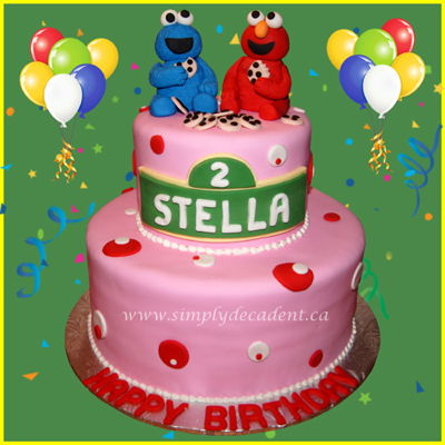 2 Tier Pink Fondant Sesame Street Birthday Cake With 3D Handmade Elmo Cookie Monster And Cookies