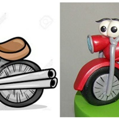 Cartoon Motorbike 1St Birthday Cake