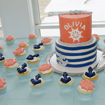 Nautical Navy/coral Baby Shower Cake