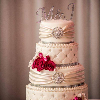 Pink And Bling Wedding Cake