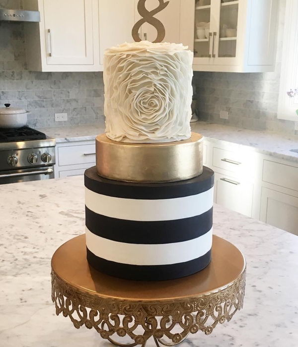 Ruffled Rosette/ Gold/ Black And White Striped Cake