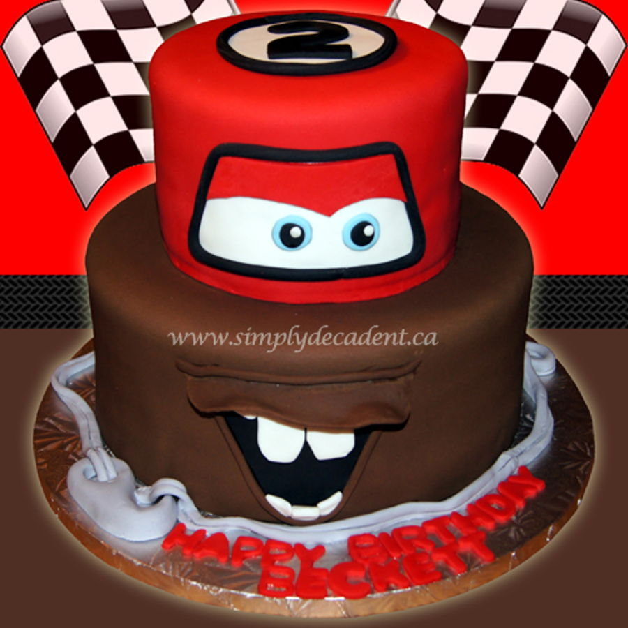 2 Tier Disney Cars Fondant Lightening Mcqueen Mator Birthday Cake