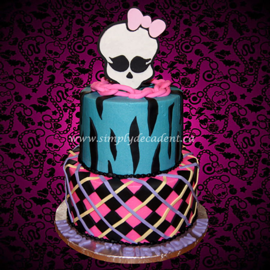 Cool 2 Tier Monster High Birthday Cake With Plaid And Zebra Pattern Funny Birthday Cards Online Inifofree Goldxyz