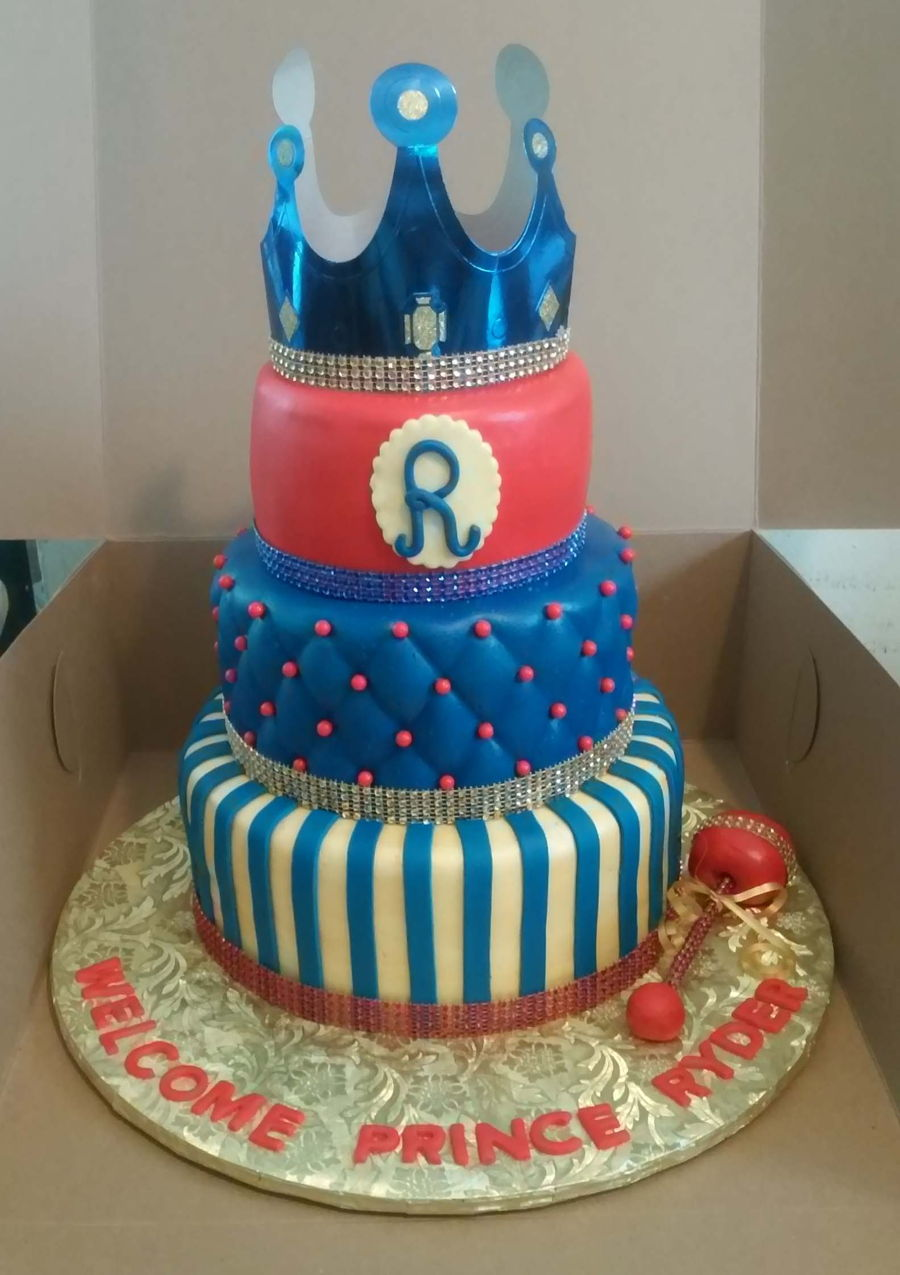 3 Tier Royal Prince Baby Shower Cake On Cake Central