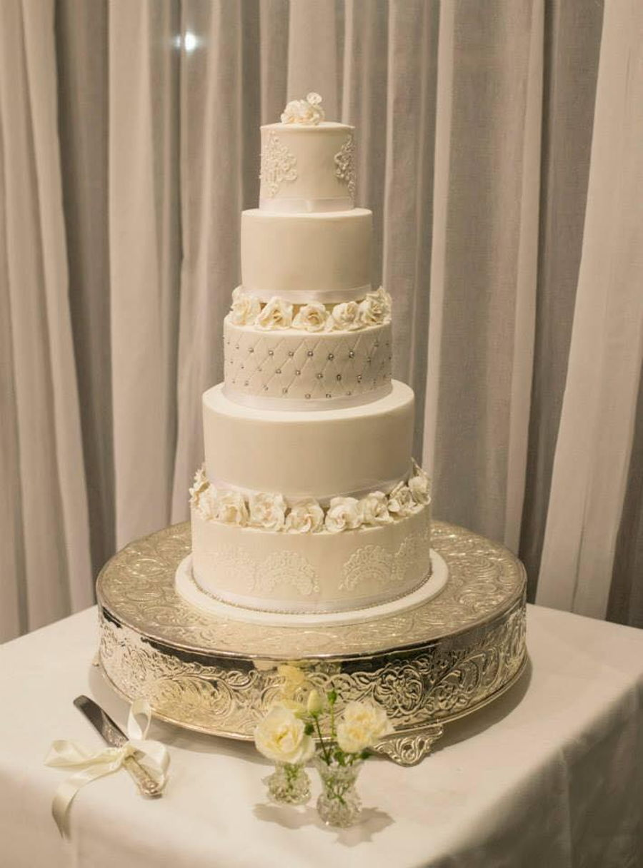 5 tier wedding cake images 5 tier white on white wedding cake cakecentral 10465