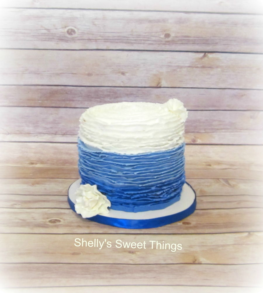 Blue Ombre Cake Images : Blue Ombre Ruffle Cake - CakeCentral.com