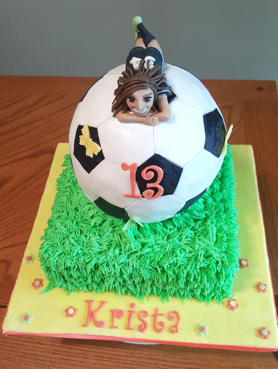 Images Of Soccer Cake : Girls Soccer Ball Cake - CakeCentral.com