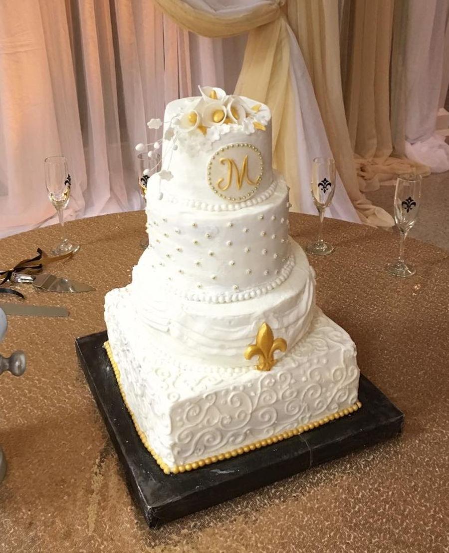 Gold And White Fleur De Lis Wedding Cake - CakeCentral.com