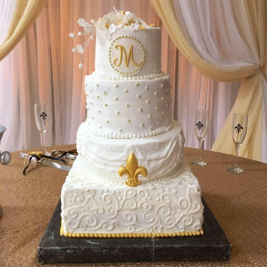 Gold And White Fleur De Lis Wedding Cake - CakeCentral.com