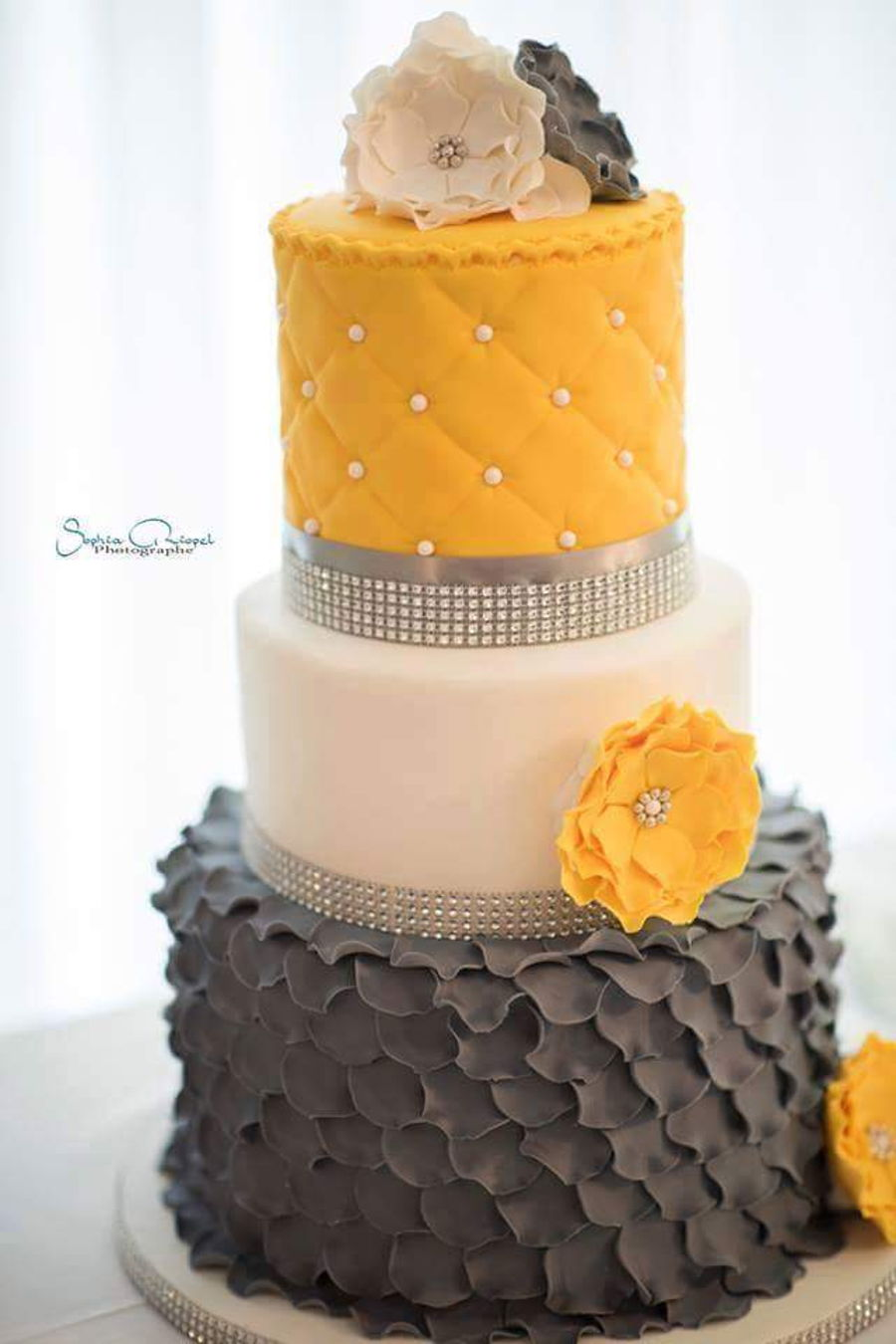 Yellow Gray Wedding Cake