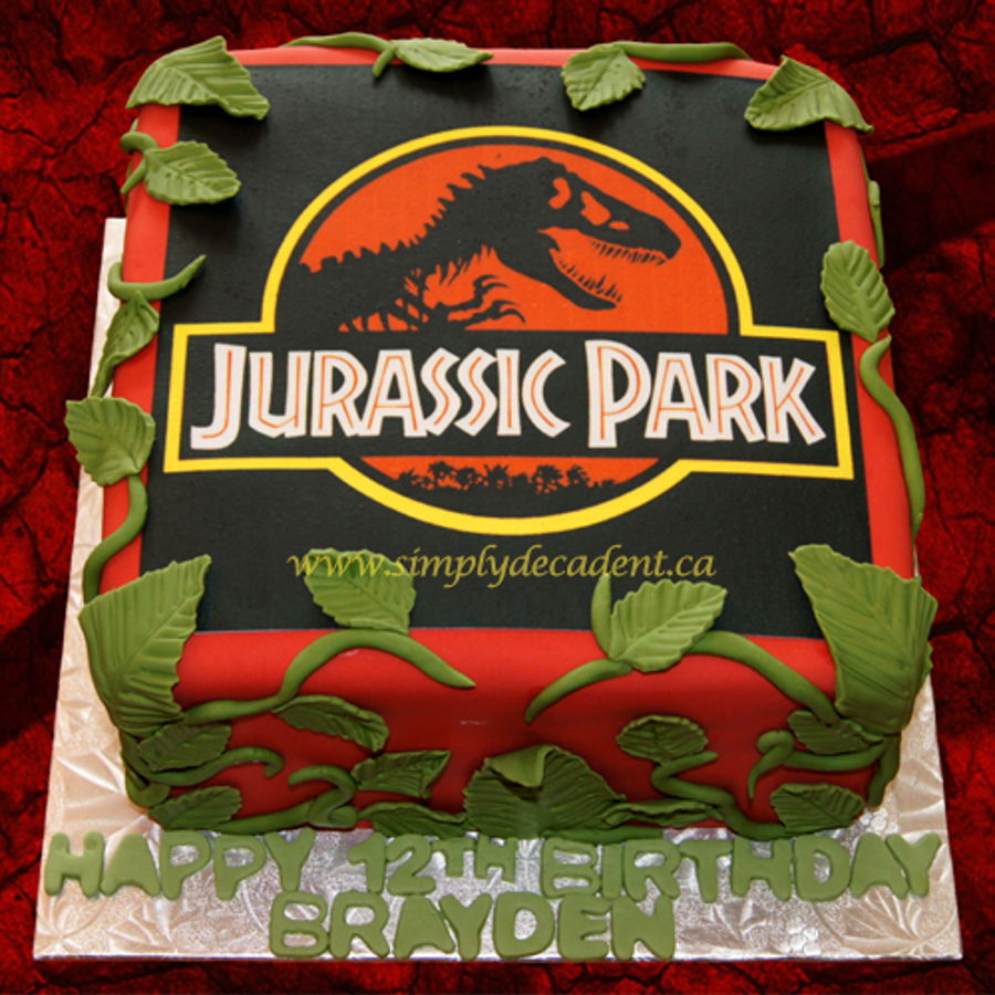 Jurassic Park Edible Image Birthday Cake With Fondant Vines And