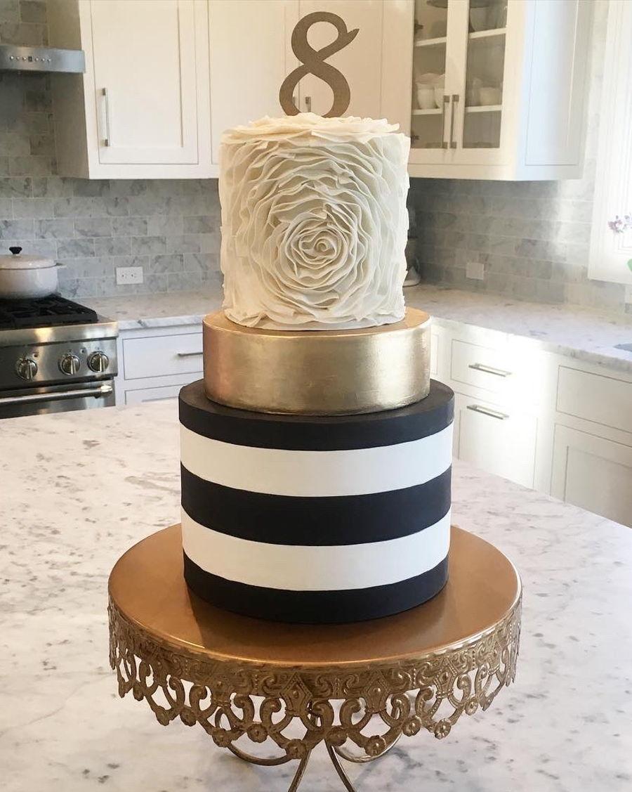 Black And White Stripe Cake With Gold Confetti