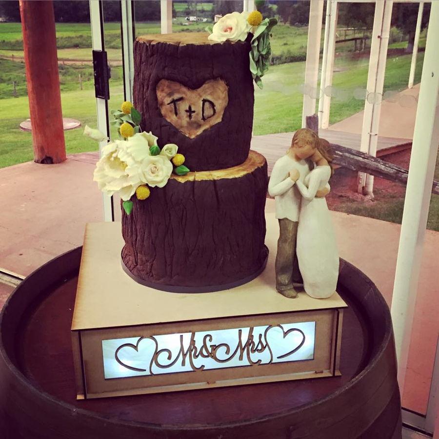 Rustic Tree Stump Wedding Cake - CakeCentral.com