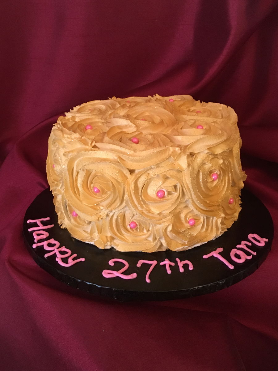 Shimmering Gold Birthday Cake. - CakeCentral.com