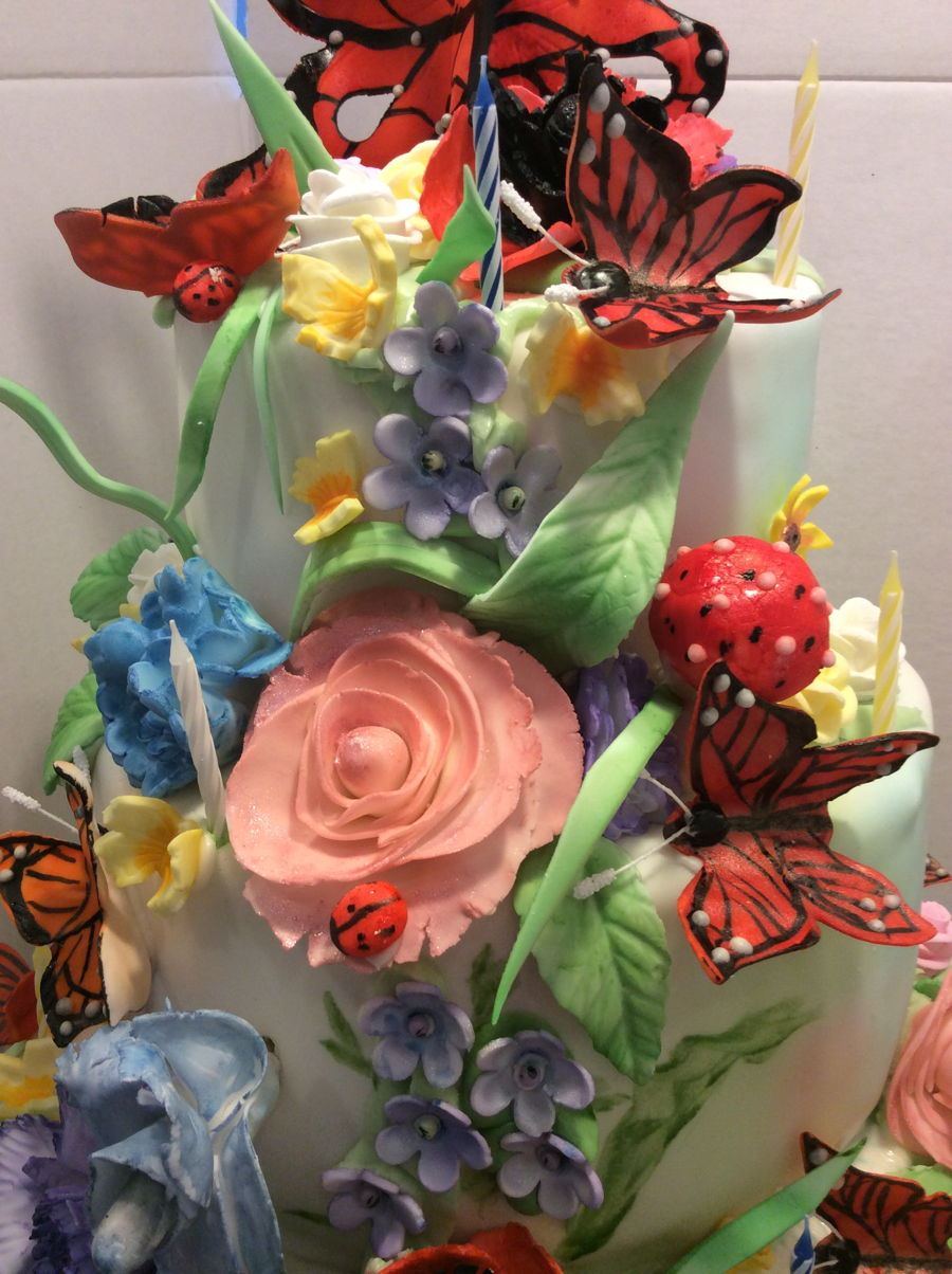 Spring Flowers And Butterflies Cakecentral Com