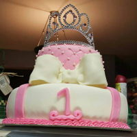 1St Princess Birthday Cake   This is a 1st birthday princess cake covered in fondant .. white and chocolate cake