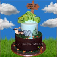 2 Tier Outdoor Nature Birthday Cake With Hand Painted Mountains & Trees, Hand Sculptured Fish With Edible Rocks, River, Grass. 2 Tier Outdoor Nature Birthday Cake with Hand Painted Mountains & Trees, Hand Sculptured Fish with Edible Rocks, River, Grass.