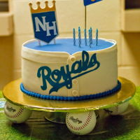 A Royal Birthday A little girl's birthday cake centered around the Kansas City Royals..buttercream cake with fondant collar, buttons and lettering..all...
