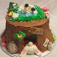 Alice In Wonderland, The Rabbit Hole Tree Trunk Cake of triple layer marble van/choc cake and cocoa buttercream icing. Fondant theme accents.