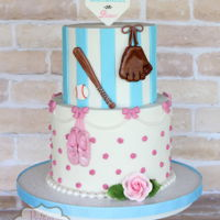 "Baseballs Or Bows - Gender Reveal Cake Gender reveal cake for a ""baseballs or bows"" themed party."