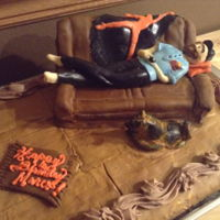 Birthday Cake Chocolate cake covered with chocolate butter cream and fondant