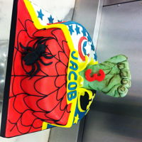 Boys Birthday Cake   super hero cake... spiderman, Batman and Captain America