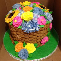 Buttercream Flower Basket Cake buttercream flowers and basket weave