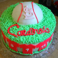 Cardinals Baseball Cake Cake to celebrate the end of the season. All buttercream with fondant accents, ball and jerseys with each child's number