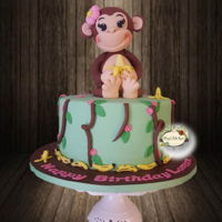 "Cheeky Monkey Birthday Cake I had such a lot of fun making this cake. The topper is about 10"" tall."